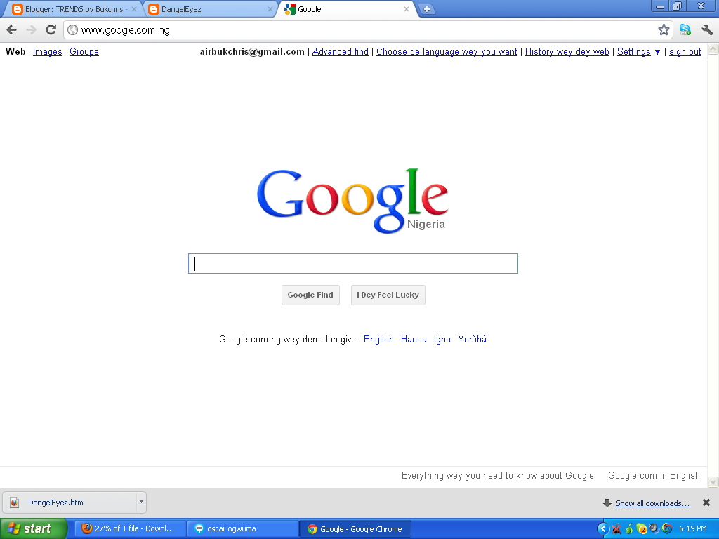 """GOOGLE lunches search in PIDGIN English … """"I Dey Feel"""